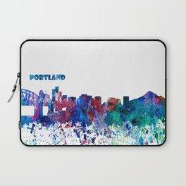 Portland Oregon Skyline Silhouette Impressionistic Blast Laptop Sleeve