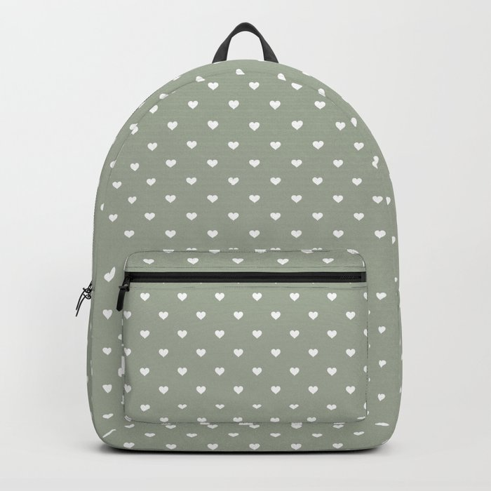 White Polka Dot Hearts on Desert Sage Grey Green Backpack