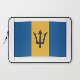 Flag of Barbados. The slit in the paper with shadows. Laptop Sleeve