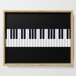 Piano Keys - Black and white simple piano keys pattern minimalistic music themed artwork Serving Tray