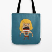 he man Tote Bags featuring Screaming He-Man by That Design Bastard