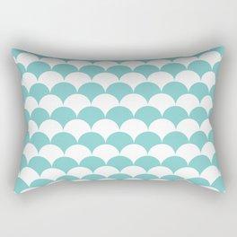 Aqua Fan Shell Pattern Rectangular Pillow