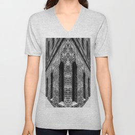 old brick building with windows in black and white Unisex V-Neck