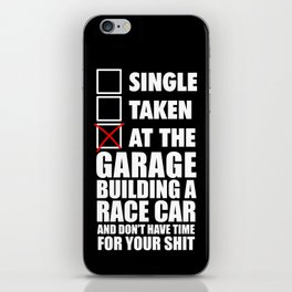 At the garage building a race car iPhone Skin