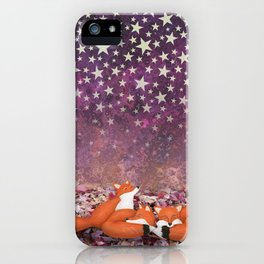 foxes under the stars iPhone Case