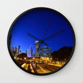 Silhouette Chicago skyline Wall Clock