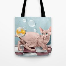 Sphynx cat and Golden Fish Tote Bag