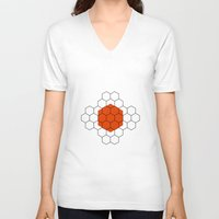 hexagon V-neck T-shirts featuring HEXAGON by KARNATARKA