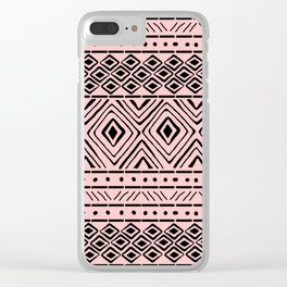 African Mud Cloth // Pink Clear iPhone Case
