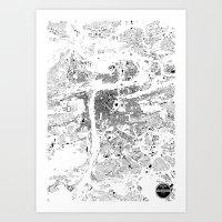 prague Art Prints featuring PRAGUE by Maps Factory