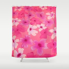 Girly pink watercolor abstract floral pattern Shower Curtain