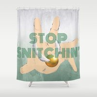 "coasters Shower Curtains featuring ""Stop Golden Snitchin'"" Print Green & Silver 1/2 by M.l. Gaynor"