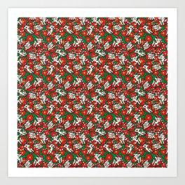 Christmas Poinsettia Candy Cane Deer Art Print