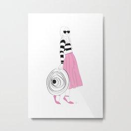 Pink Striped Summer Hat Fashion Girl Metal Print