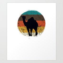 Distressed Circle Retro Graphic Desert Camel Art Art Print