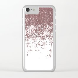 Girly Glamorous Faux Rose Gold Glitter White Ombre Clear iPhone Case