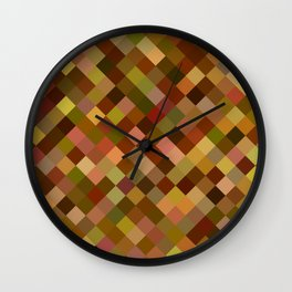 Autumn Colored Squares Brown Wall Clock