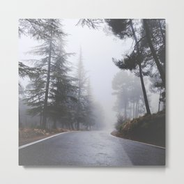 Dream forest. Square. Into the foggy woods Metal Print