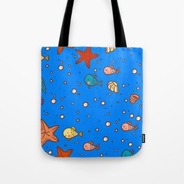 Cute Retro SeaLife Seamless Pattern Tote Bag