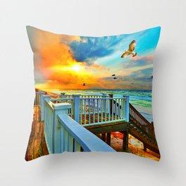 Colorful Beach Art Print Sunset Landscape Sea Hawk Throw Pillow