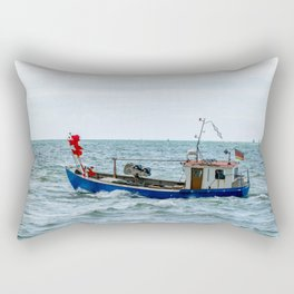 Small fishing boat on the sea Rectangular Pillow