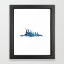 NY New York City Skyline NYC Watercolor art Framed Art Print