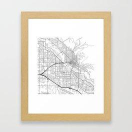Boise Map, USA - Black and White Framed Art Print