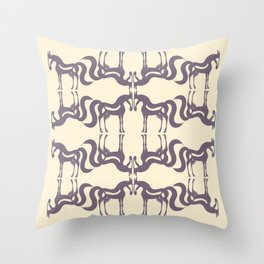 The Essence of a Horse Ornamental Pattern (Beige and Mauve) Throw Pillow