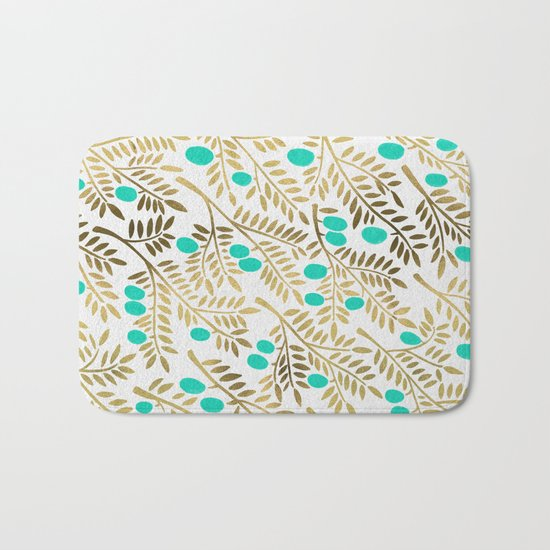 Gold & Turquoise Olive Branches Bath Mat