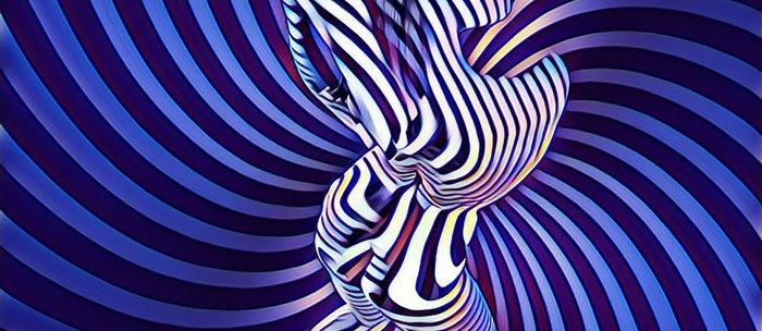 0474s-MM Sensual Woman on Knees Abstract Nude Figure Op Art Blue Topographic Feminine Power Revealed Coffee Mug