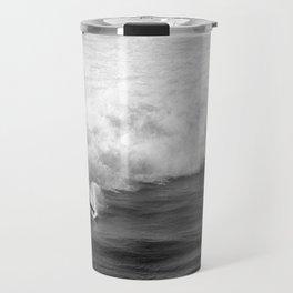 Lone Surfer in Black and White Travel Mug