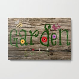 Whimsical Garden Sign Wood Background Metal Print