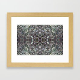 Sparkly colourful silver mosaic mandala Framed Art Print