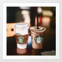 starbucks Art Prints featuring Starbucks Coffee  by Sara Eshak
