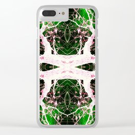 Neon Mirrored Trees 8 Clear iPhone Case