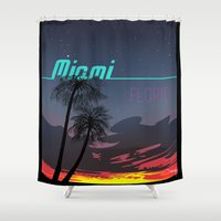 miami Shower Curtains featuring Miami by Nioko