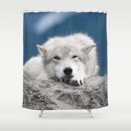 Sleepy Wolf Shower Curtain