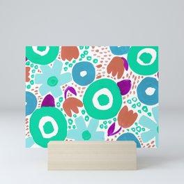 Bold Abstract Floral Inspired Pattern (Blue, Aqua, Purple, Raw Sienna) Mini Art Print