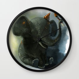 Painting Elephant Wall Clock