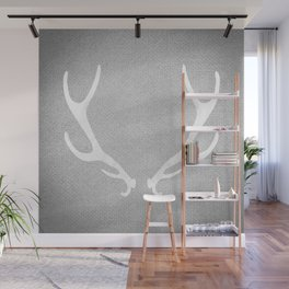 White & Grey Antlers Wall Mural
