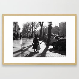 Monochrome street view Framed Art Print