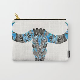 Water Buffalo Skull – Black & Blue Carry-All Pouch