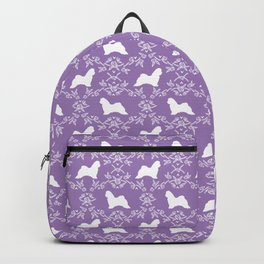Maltese floral silhouette dog breed gifts pure breed silhouettes Backpack