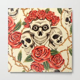 Skull wreath of roses Metal Print