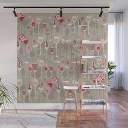 Retro Vintage Cocktail Pattern 2 Wall Mural
