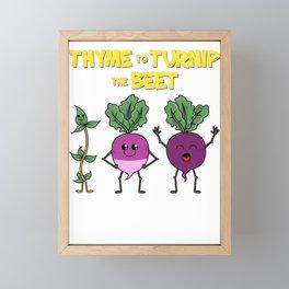 Thyme To Turnip Happy Gardening Garden Gift Framed Mini Art Print