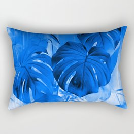 A Philodendron in blue Rectangular Pillow