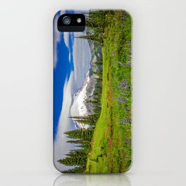 Mt Rainier and Wildflowers iPhone Case