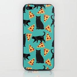 black cat pizza cat lover pet gifts cute cats iPhone Skin