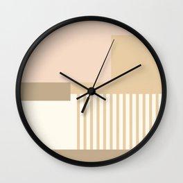Sol Abstract Geometric Print in Tan Wall Clock